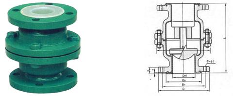 h42f46衬氟立式止回阀结构图