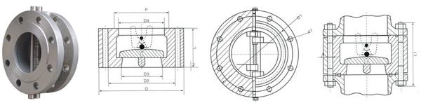 h46h/w法兰双瓣旋启式止回阀结构图