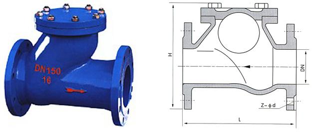 hq41x滑道滚球式止回阀结构图
